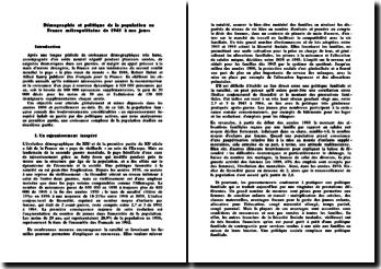 Démographie et politique de la population en France métropolitaine de 1945 à nos jours
