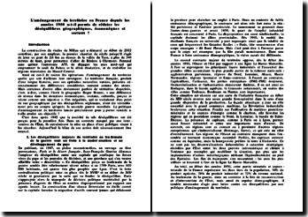 L'aménagement du territoire en France depuis les années 1950 a-t-il permis de réduire les déséquilibres géographiques, économiques et sociaux