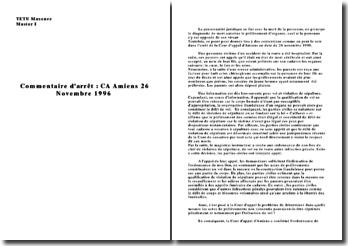 Commentaire d'arrêt CA Amiens 26 novembre 1996