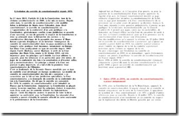 L'EVOLUTION DU CONTROLE DE CONSTITUTIONNALITE DEPUIS 1958