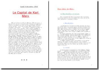 Fiche de lecture de la première partie du capital de marx