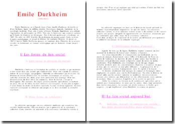 Fiche sur Durkheim
