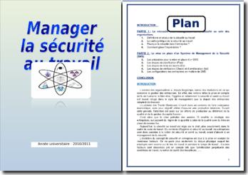 Manager la sécurité au travail
