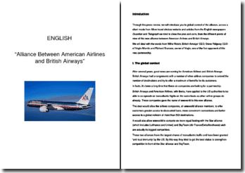 Alliance Between American Airlines and British Airways