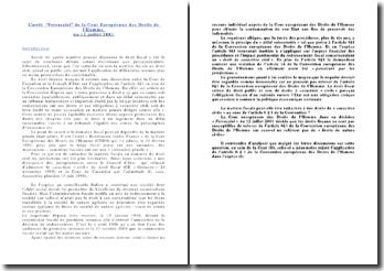 Commentaire de l'arrêt Ferrazzini de la CEDH du 12 juillet 2001