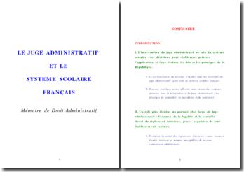 Le juge administratif et le système scolaire français