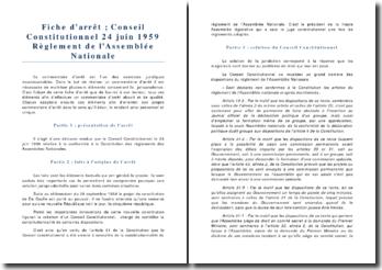 Conseil Constitutionnel 24 juin 1959 Réglement de l'Assemblée Nationale