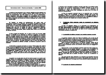 Commentaire d'arrêt - Chambre commerciale, 1er octobre 2002