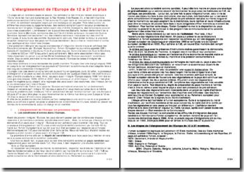 L'élargissement de l'UE de 12 à 27 et plus