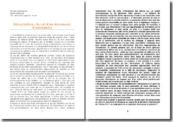 dissertation le vol d'un document d'entreprise