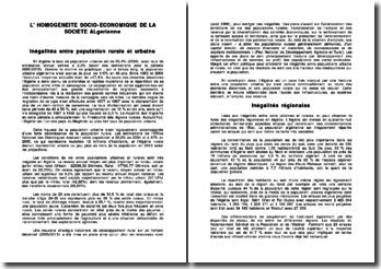 L' HOMOGENEITE SOCIO-ECONOMIQUE DE LA SOCIETE ALgerienne