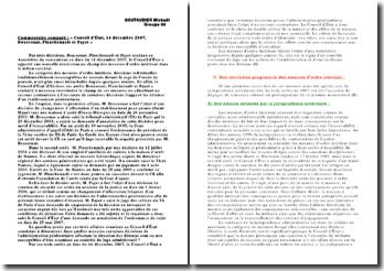 Commentaire comparé des arrêts Boussouar, Planchenault et Payet du 14 décembre 2007