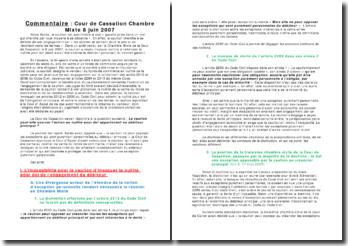 Commentaire : Cour de Cassation Chambre Mixte 8 juin 2007