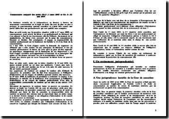 Commentaire comparé Civ 1ère 1 mars 2005 et 14 mai 2009