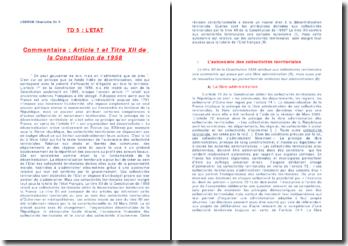 article 1 et titre XII de la constitution de 1958