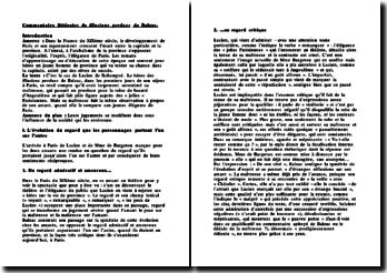 commentaire littéraire de Illusions perdues de Balzac