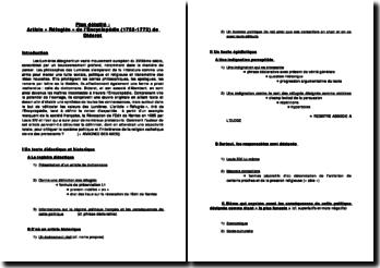 Plan détaillé : Article « Réfugiés » de l'Encyclopédie (1752-1772) de Diderot