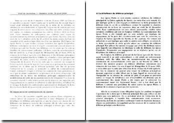 Cour de cassation, 1er chambre civile, 26 avril 2000. La réduction de la dette du débiteur principal emporte-t-elle la modification de celle de la caution envers le créancier ?