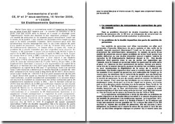 Conseil d'Etat, 8e et 3e sous-sections, 16 février 2000, n 133296 SA Etablissements Quémener - double imposition liée à la cession de parts d'une société de personnes