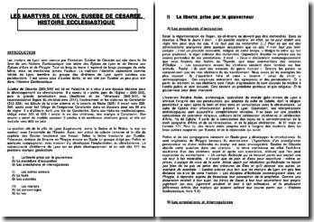 Les martyrs de Lyon, Eusèbe de Césarée, Histoire Ecclesiastique