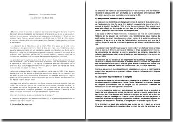 Dissertation juridique, statut Président des Etats-Unis