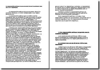La responsabilité politique du gouvernement devant le parlement sous les 3e et 4e républiques.