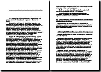 Les rapports entre le président de la république et le premier ministre sous la Ve république.