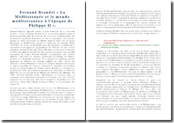 Fernand Braudel « La Méditerranée et le monde méditerranéen à l'époque de Philippe II ».