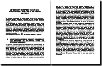 LE CONCERT EUROPEEN AVANT 1914: SOLIDARITES ET RIVALITES D'UNE EUROPE IMPERIALE