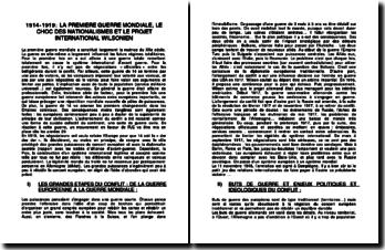 1914-1919: LA PREMIERE GUERRE MONDIALE, LE CHOC DES NATIONALISMES ET LE PROJET INTERNATIONAL WILSONIEN