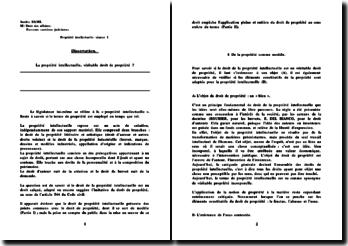 dissetation: La propriété intellectuelle, véritable droit de propriété ?