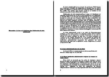 Le juge et le législateur dans l'élaboration du droit administratif (2011)