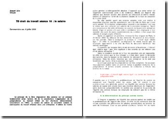 droit du travail: le salaire, commentaire de l'arret du 6 juillet 2005