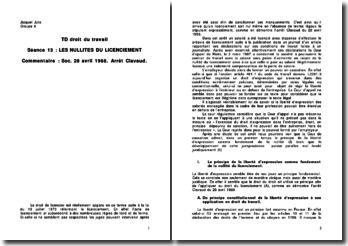 les nullités du licenciement, commentaire de l'arret Clavaud du 28 avril 1988