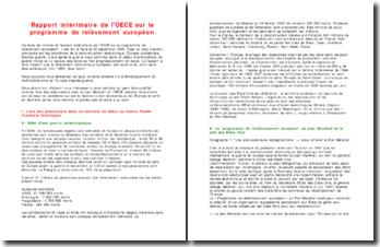 Rapport intérimaire de l'OECE sur le programme de relèvement européen (30 décembre 1948)
