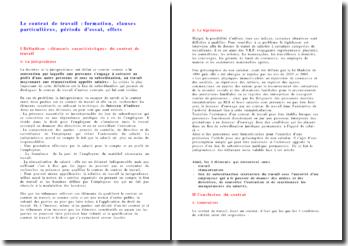 Le contrat de travail : formation, clauses particulières, période d'essai, effets