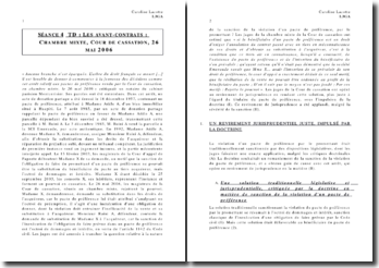 Cour de cassation, Chambre mixte, 26 mai 2006 - Les avant-contrats