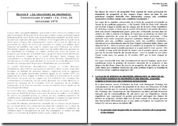 Cour de cassation, Chambre commerciale, 20 novembre 1979 - Le transfert de propriété