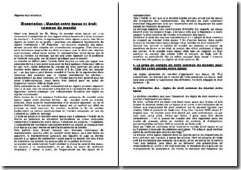 Dissertation: Mandat entre époux et droit commun du mandat