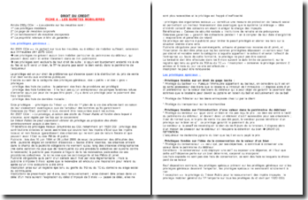 Droit du crédit/sûretés Fiche de révision: Les sûretés mobilières