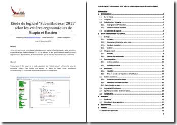 IHM - Etude du logiciel SubmitIndexer 2011 selon les critères ergonomiques de Scapin et Bastien