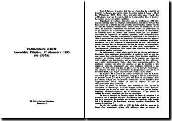 Commentaire arrêt Assemblée plénière 1 décembre 1995