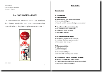 TPE Histoire/Francais La consommation