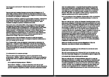 Commentaire de l'arret de la 3ème Chambre civil de la Cour de Cassation du 17 janvier 2007