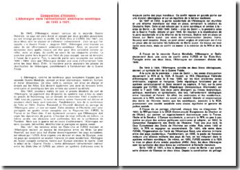 Composition d'Histoire : L'Allemagne dans l'affrontement américano-soviétique de 1945 à 1991