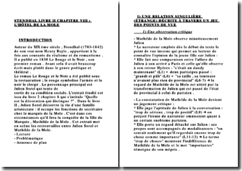 FICHE STENDHAL LIVRE II CHAPITRE VIII : L'HÔTEL DE LA MOLE