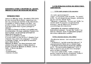 FICHE STENDHAL LIVRE I CHAPITRE IX : JULIEN PREND LA MAIN DE MADAME DE RÊNAL