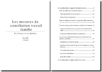 Etude comparative des mesures de conciliation travail famille en France et au Québec