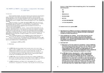 Du MRP0 au MRP2 : une analyse comparative théorique et empirique