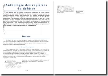 Anthologie des registres du théâtre